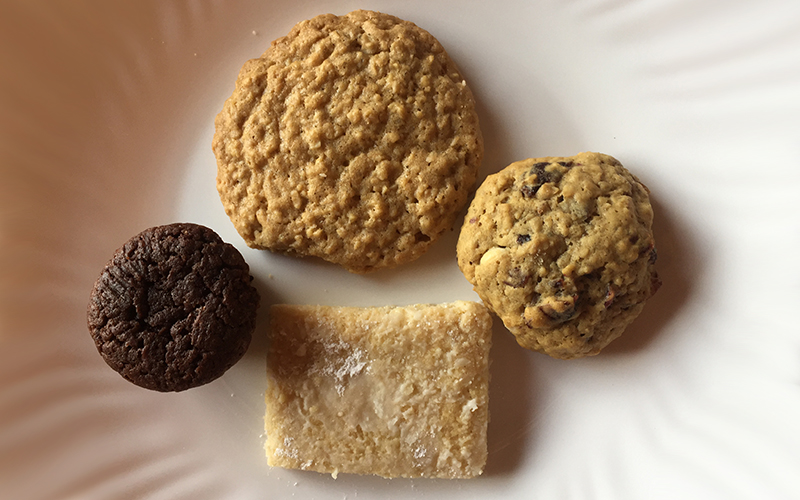 Small Cookies: Brownie Bites, Oatmeal Coconut Crisps, Cranberry White Chocolate Chip, Almond (GF)